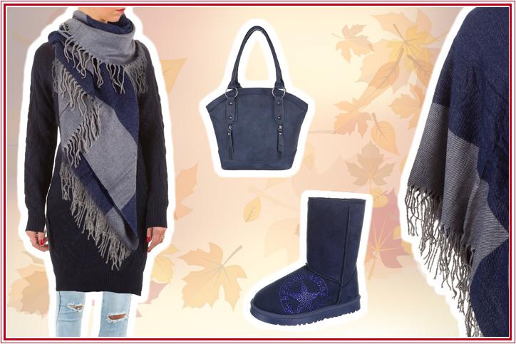 City Beauty – Dein elegantes Outfit mit blauem XXL-Schal für Damen jetzt günstig online kaufen!