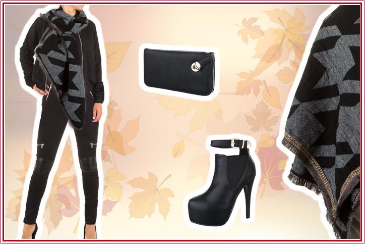 Biker Girl – gleich losrocken mit diesem stylischen XXL-Damenschal in Schwarz zum günstigen Online-Bestpreis!