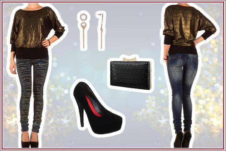 Glanz und Gloria - Dein glänzendes Partyoutfit mit günstigen Skinny Jeans für Damen jetzt online shoppen!