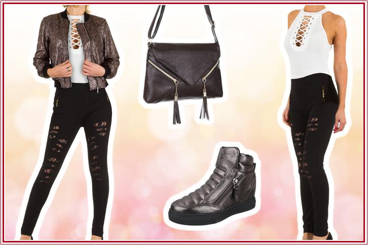 Flashy Fashionista – Skinny-Damenhose mit Cut-Outs und aufregender Spitze zum günstigen Onlineeinkaufspreis!