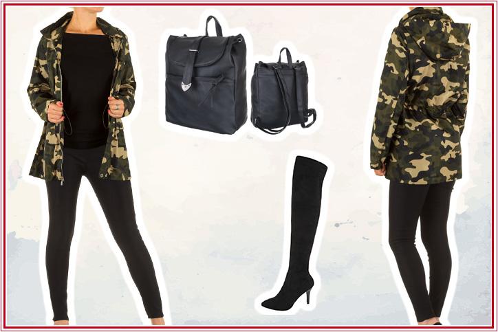 Military Lady – Jetzt neue Overknees und Camouflage-Jacke zusammen günstig online shoppen!