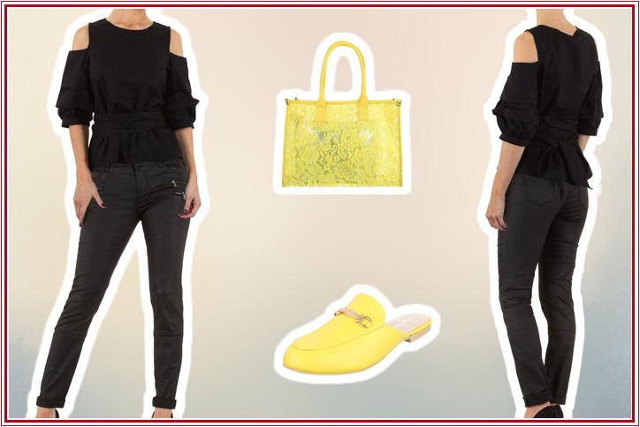 Pantolettenheldin – Dein Freizeitoutfit mit gelben Mules zum günstigen Onlineeinkaufspreis!