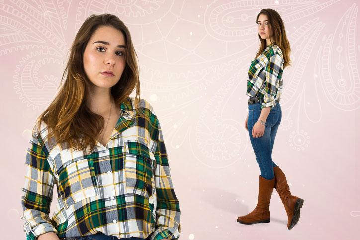 Ranch Girl – Dein perfekter Casual Look mit derben Cowgirl Boots und Karohemd zum Bestpreis!