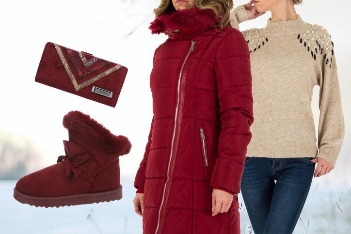 Lady in Red – Das perfekte Outfit mit stylischem Wintermantel zum günstigen Online-Einkaufspreis