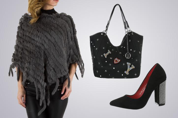 Poncho Girl – Dein Outfit mit Kuschel-Poncho in Schwarz zum günstigen Onlineeinkaufspreis