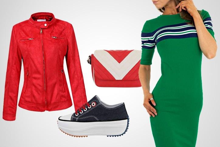 Green Girl – Casual Color Blocking in Rot und Grün zum günstigen Onlineeinkaufspreis sichern