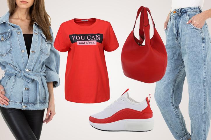 Red Bag Easy – Dein Casual Denim Look mit roter Beuteltasche zum günstigen Onlineeinkaufspreis