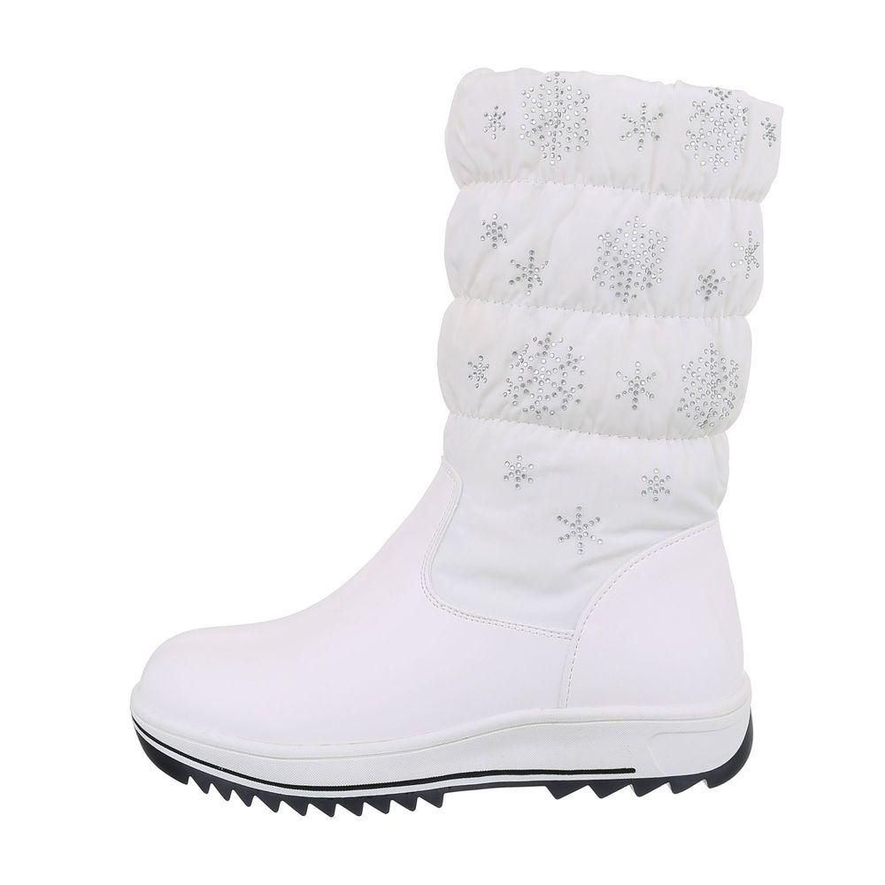Trendige Mädchen Stiefeletten Stiefel Schuhe Lederoptik Strass Reißverschluss