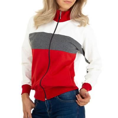 Sweatjacke für Damen in Grau und Rot