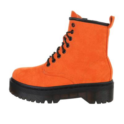 Schnürstiefeletten für Damen in Orange