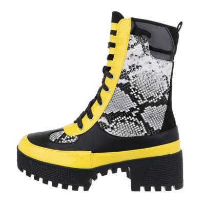 Schnürstiefeletten für Damen in Schwarz und Gelb