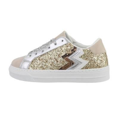 Sneakers low für Damen in Gold und Beige