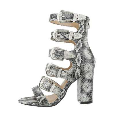 High Heel Sandaletten für Damen in Grau und Beige