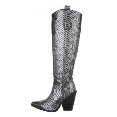 High Heel Stiefel für Damen in Schwarz und Silber