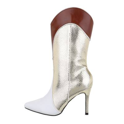 High Heel Stiefel für Damen in Gold und Weiß