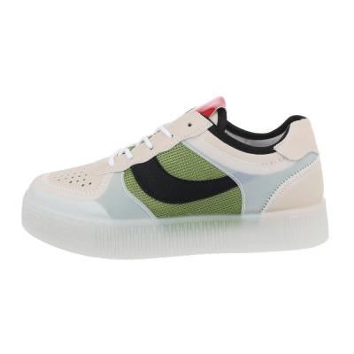 Sneakers low für Damen in Grün und Beige