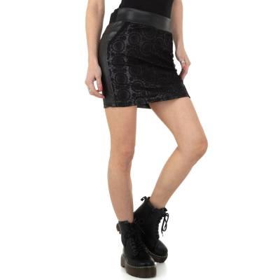Rock in Lederoptik für Damen in Schwarz