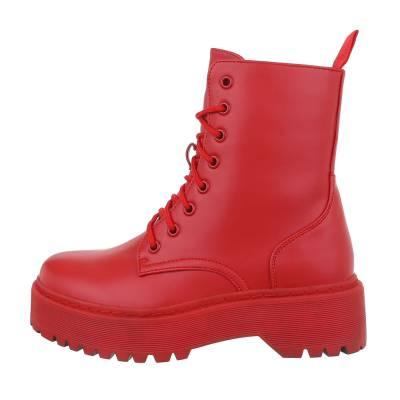 Schnürstiefeletten für Damen in Rot