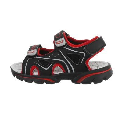 Jungen Kinder Sandalen Schwarz Rot