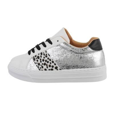 Sneakers low für Damen in Silber und Weiß
