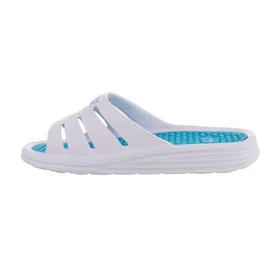 Pantoletten für Damen in Weiß und Blau