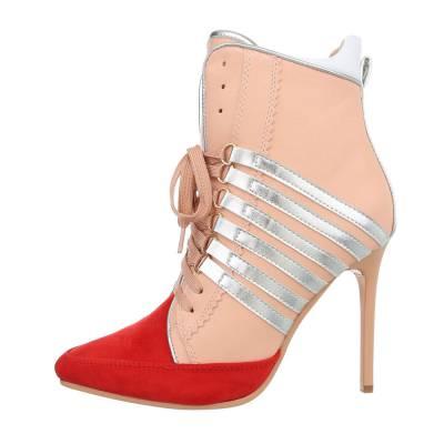 High Heel Stiefeletten für Damen in Rosa und Rot
