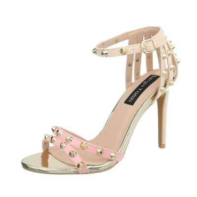 High Heel Sandaletten für Damen in Rosa und Beige