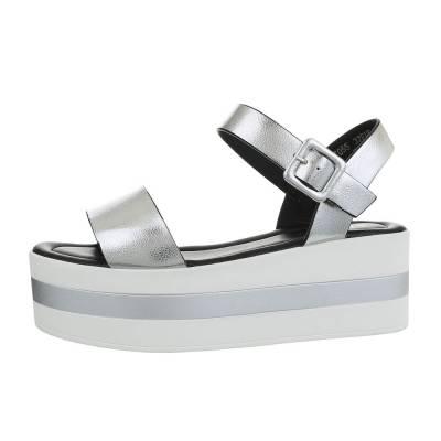 Riemchensandalen für Damen in Silber und Weiß
