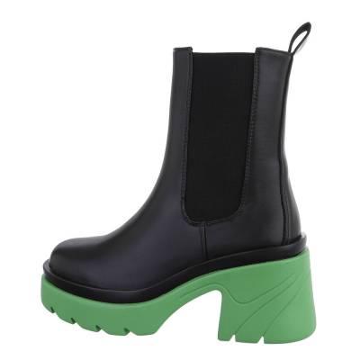 Plateaustiefeletten für Damen in Schwarz und Grün
