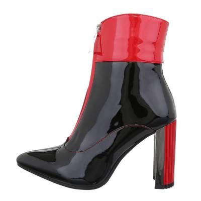 High Heel Stiefeletten für Damen in Schwarz und Rot