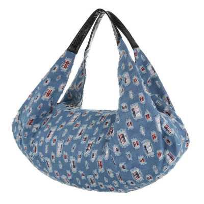 übergroße Damen Tasche Blau Schwarz