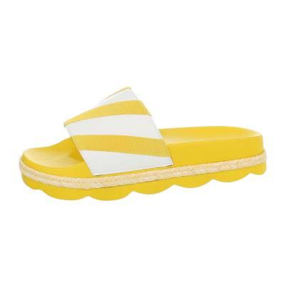 Pantoletten für Damen in Gelb und Weiß
