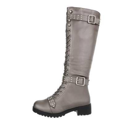 Flache Stiefel für Damen in Grau und Silber