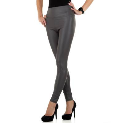 Leggings in Lederoptik für Damen in Grau
