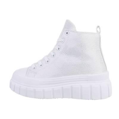 Sneakers High für Damen in Silber und Weiß