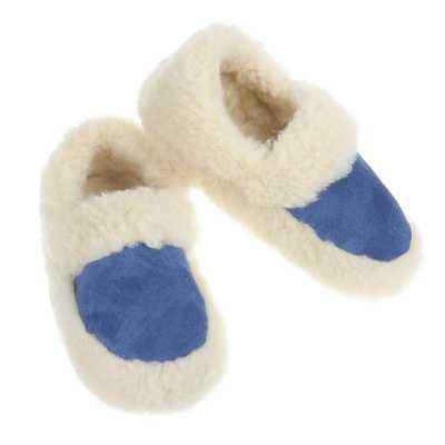 Warm Gefütterte Schurwolle Hausschuhe Blau