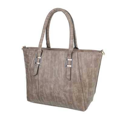 Mittelgroße Damen Tasche Grau Braun