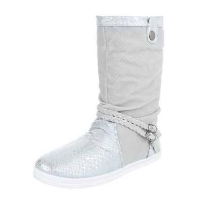 Flache Stiefel für Damen in Silber