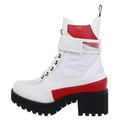 Schnürstiefeletten für Damen in Weiß und Rot