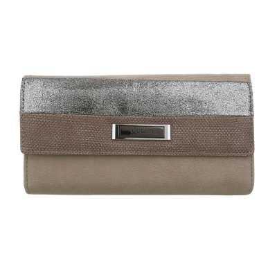 Portemonnaie Damen Geldbörse Grau Braun