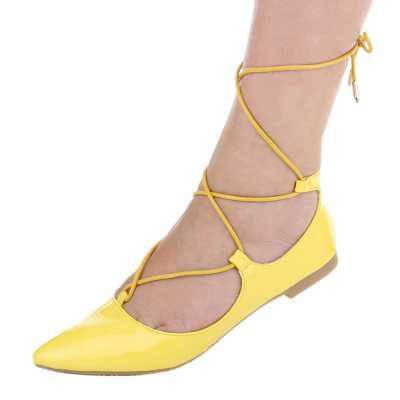 Riemchenballerinas für Damen in Gelb