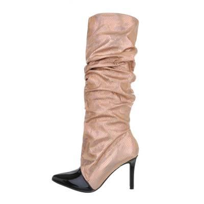 High Heel Stiefel für Damen in Rosa und Gold