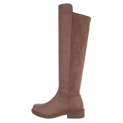 Flache Stiefel für Damen in Hellbraun