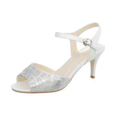 High Heel Sandaletten für Damen in Weiß und Silber