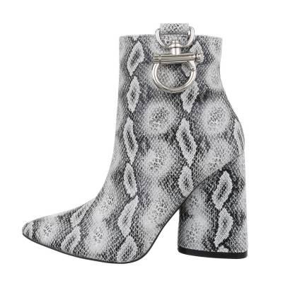 High Heel Stiefeletten für Damen in Grau und Weiß
