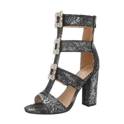 High Heel Sandaletten für Damen in Grau und Silber