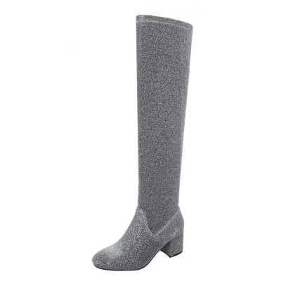 Overknees für Damen in Grau