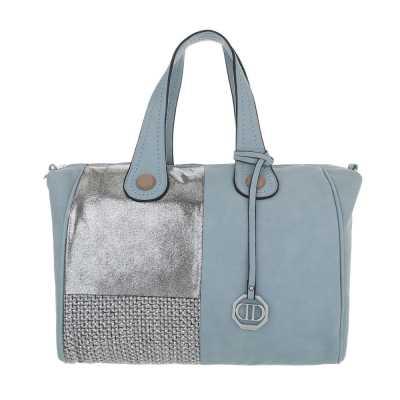 Große Damen Tasche Blau Silber