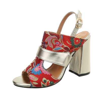 High Heel Sandaletten für Damen in Rot und Gold