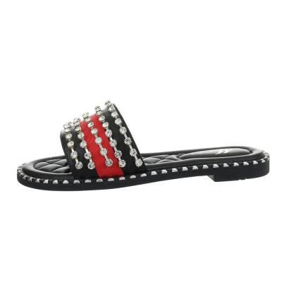Pantoletten für Damen in Schwarz und Rot
